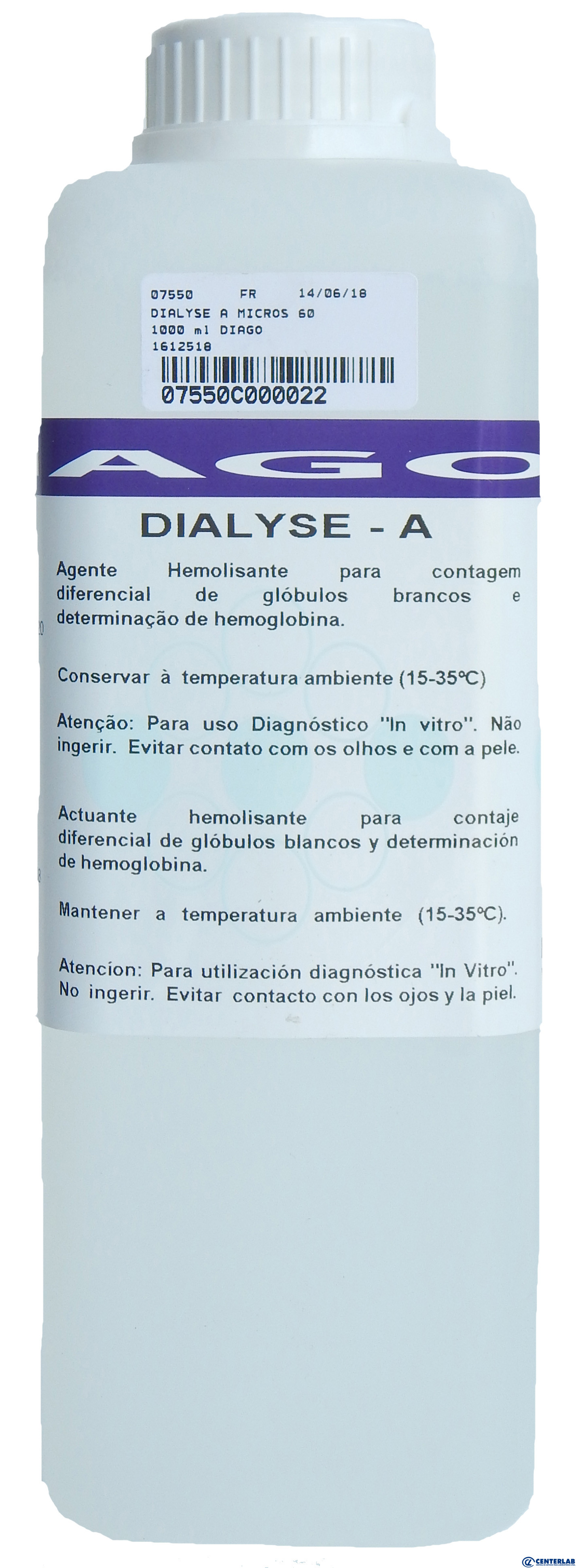 Dialyse A (Micros 60) 1000 ml Diagon  - Cód. 07550